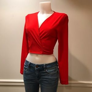 Misguided Sexy Red Wrap Blouse